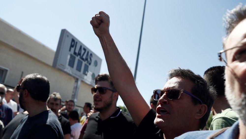 Taxistas en huelga en Madrid