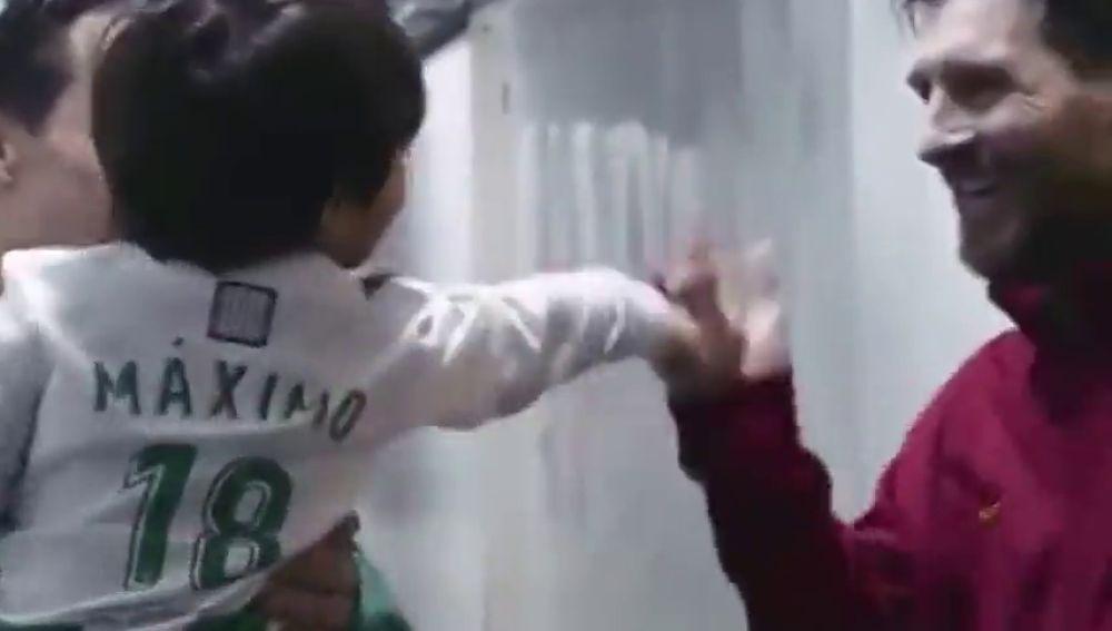 La reacción del hijo de Guardado al conocer a su ídolo Leo Messi