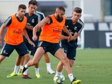 Benzema, en el entrenamiento del Real Madrid en Miami