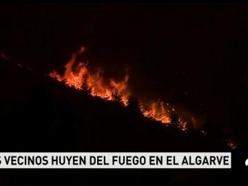 Se estabiliza el incendio del Algarve, pero las llamas siguen activas