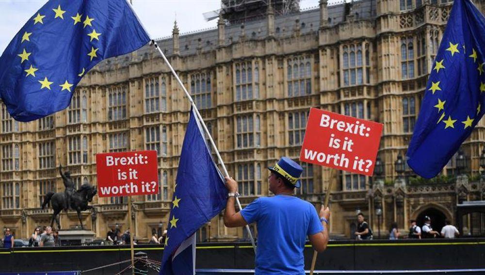 Un ciudadano se manifiesta en contra del 'brexit' a las afueras del Parlamento en Londres, Reino Unido