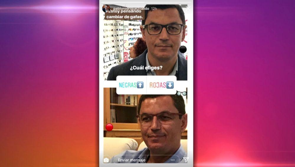 El vicepresidente de Canarias pregunta a sus seguidores de Instagram si se compra unas gafas rojas o negras