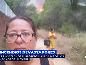 """Los vecinos de Llutxent regresan a sus casas tras tres días de incendio: """"Nos han querido y nos han mimado, pero en casa se está mejor"""""""