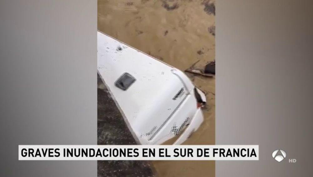Las fuertes inundaciones del sur de Francia arrastran caravanas y vehículos y obligan a desalojar a 1.600 personas