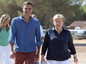 Pedro Sánchez y Angela Merkel en Doñana
