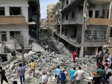 Varios edificios derruidos en Siria