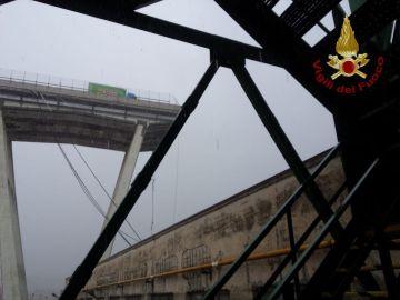 Viaducto derrumbado en Génova
