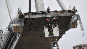 Miembros de los servicios de rescate trabajan en la búsqueda de víctimas tras el derrumbe de un puente en Génova