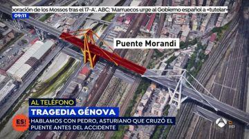 El testimonio de Pedro, un asturiano que cruzó el puente antes del derrumbe en Génova
