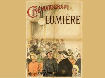 El primer cartel, realizado en 1896, para promocionar el cine