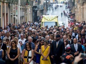 Momento del acto de homenaje a las víctimas en el primer aniversario por los atentados del 17 de agosto