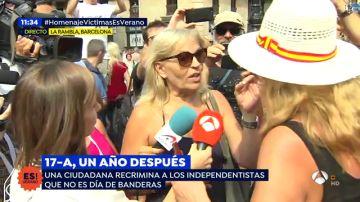 """Una ciudadana a los independentistas: """"Estamos aquí por las víctimas no para colgar banderas"""""""