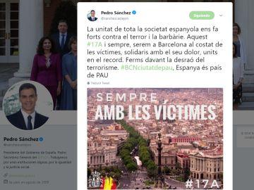 Tuit Pedro Sánchez por el aniversario de los atentados de Cataluña