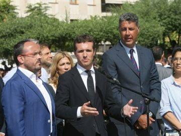 El presidente del PP, Pablo Casado, junto al líder del PP de Cataluña, Xavier García Albiol