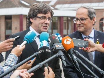 Carles Puigdemont y el presidente de la Generalitat, Quim Torra