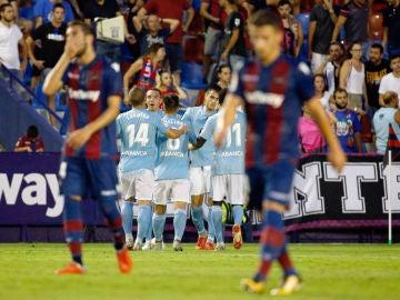El Celta celebra un gol ante el Levante