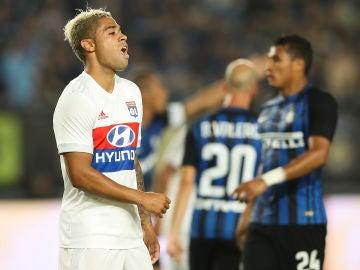 Mariano Díaz, durante un partido con el Olympique de Lyon