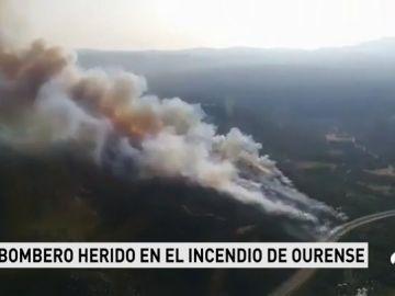 El incendio de Ourense supera las 100 hectáreas afectadas y un agente forestal ha resultado herido
