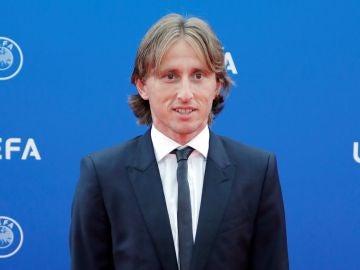 Luka Modric en la entrega de premios de la UEFA