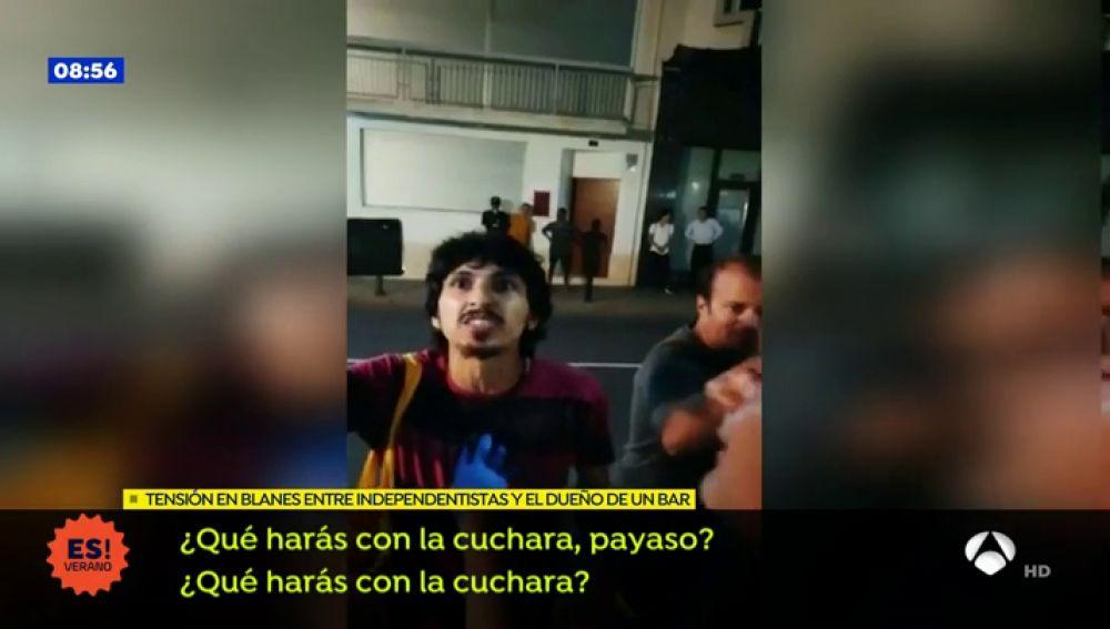 El vídeo de las amenazas a un empresario de Blanes que se niega a colocar lazos amarillos en su restaurante