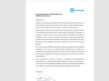 Carta de Xavier García Albiol a la ministra de Justicia
