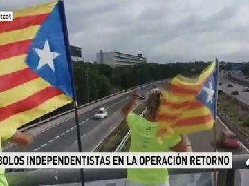 Los símbolos independentistas llegan a las carreteras catalanas en mitad de la 'Operación Retorno'