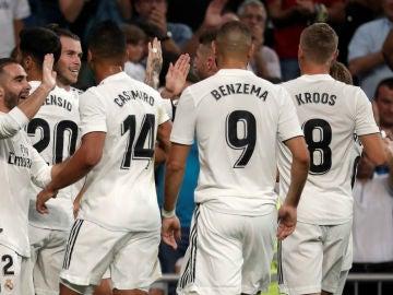 El Real Madrid celebra un gol