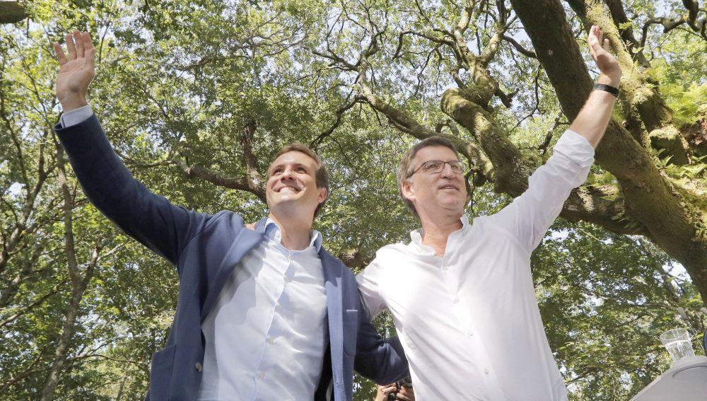 El presidente del Partido Popular, Pablo Casado, y el presidente de la Xunta de Galicia, Alberto Núñez Feijoo