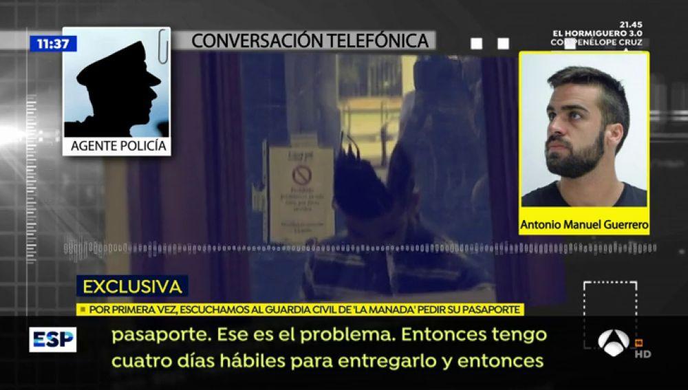 EXCLUSIVA: La grabación de la llamada real del guardia civil de 'La Manada' para renovarse el pasaporte