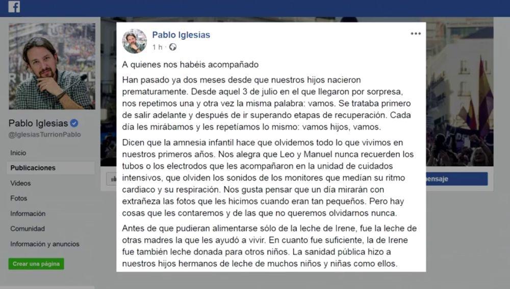 """Iglesias y Montero agradecen a los que les han """"acompañado"""" en la recuperación de sus hijos: """"Todo ha sido posible gracias a los profesionales de la sanidad pública y al apoyo de nuestra gente"""""""