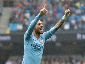 David Silva en un partido con el Manchester City
