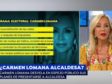 """La candidatura de Carmen Lomana para ser la nueva alcaldesa de Madrid: """"Me pateo los barrios y sé cómo están las cosas"""""""
