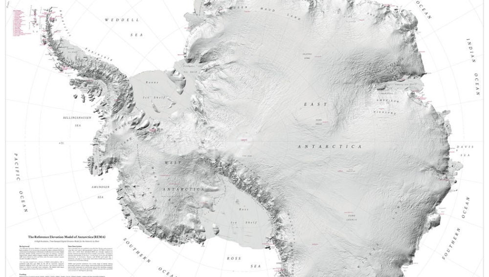 El mapa más detallado de Antártida que se ha hecho hasta ahora