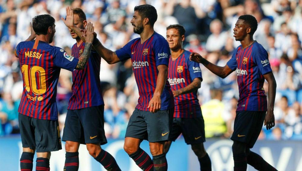 Luis Suárez celebra un gol