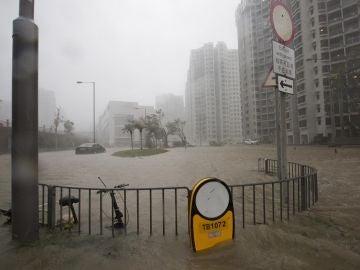 Imagen de las inundaciones en Hong Kong por el tifón Mangkhut