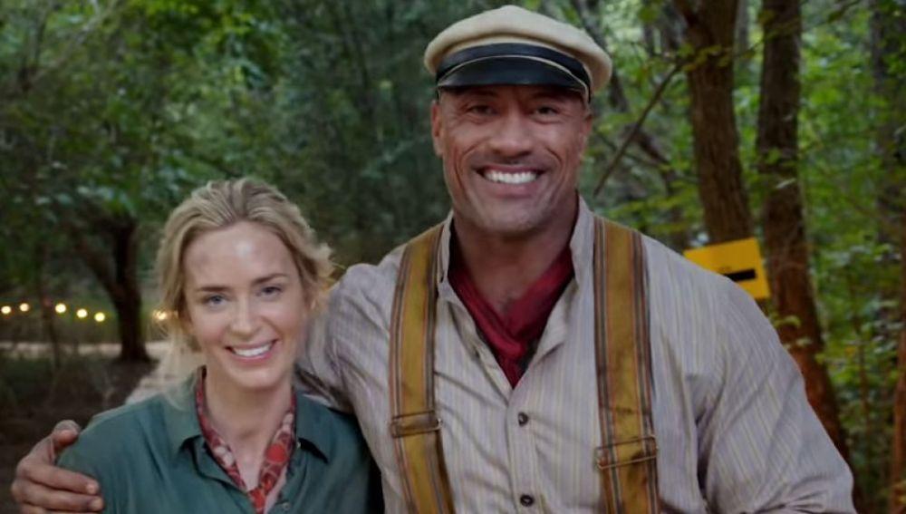Emily Blunt y Dwayne Johnson en 'Jungle Cruise'