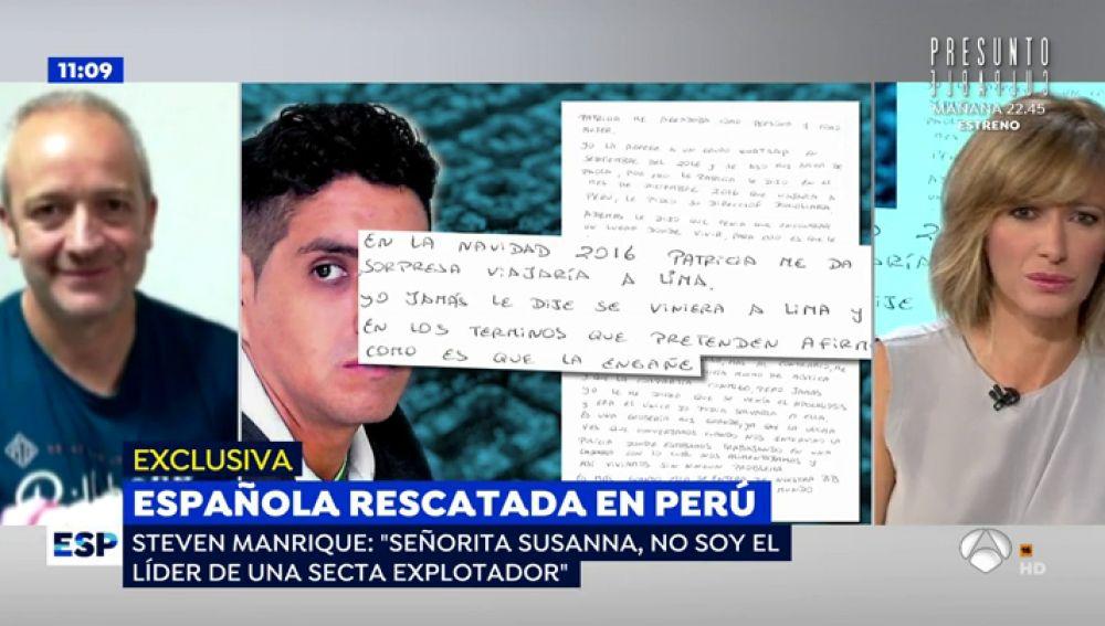 "El gurú que captó a Patricia Aguilar en una secta en Perú escribe una carta a Susanna Griso: ""Señorita periodista, no soy el líder de ninguna secta"""