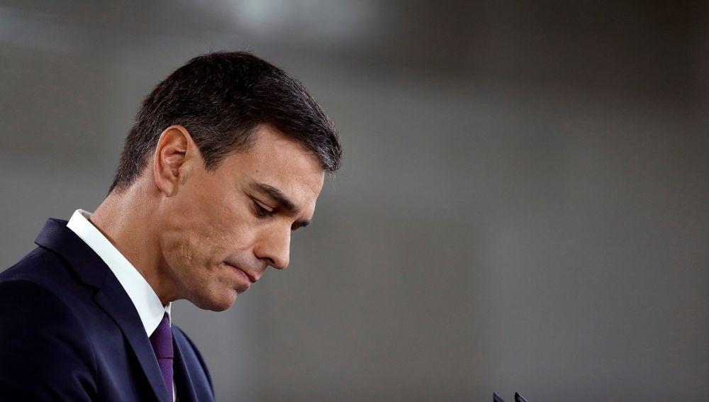Imagen de Pedro Sánchez ante los medios de comunicación