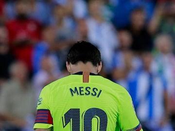Messi, cabizbajo contra el Leganés