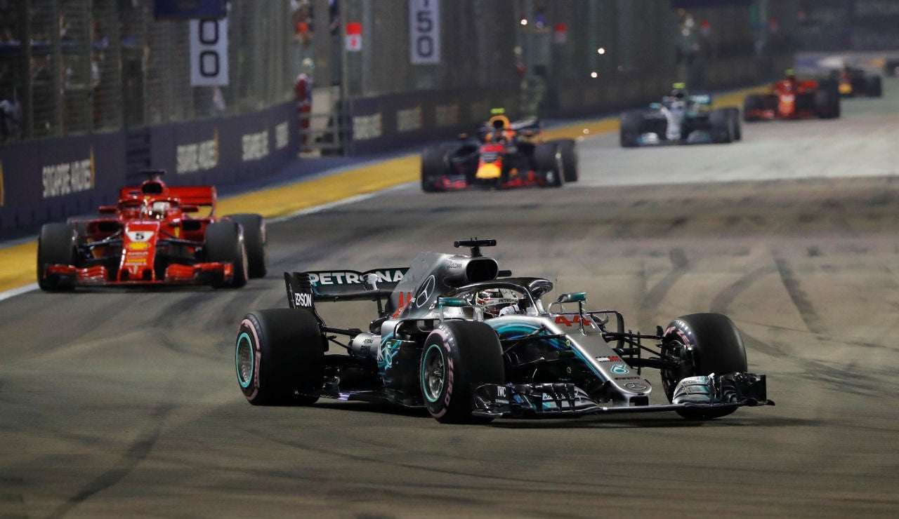 Hamilton, durante el GP de Singapur