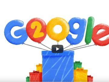 Pantallazo del doodle por los 20 años de Google