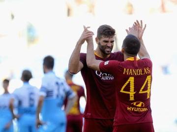 La Roma celebra un gol ante la Lazio