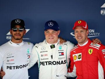 Bottas, con Hamilton y Vettel