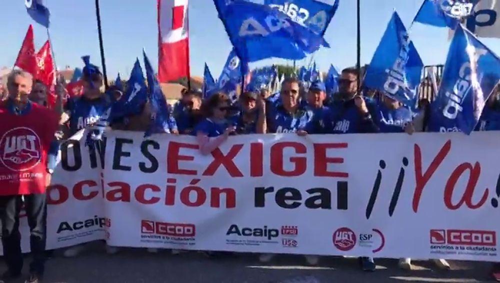 Funcionarios de prisiones protestan frente la cárcel de Brieva para exigir una subida del sueldo