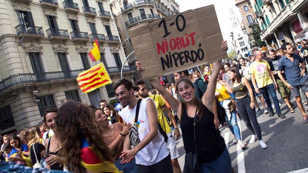 Vista de la manifestación estudiantil en Barcelona