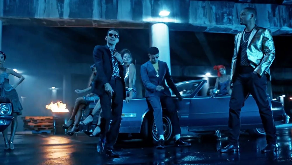 Marc Anthony, Bad Bunny y Will Smith en el videoclip de 'Está rico'
