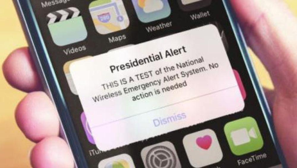 Mensaje de alerta enviado por Trump a los móviles del país