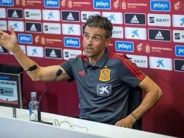 Luis Enrique, en su rueda de prensa en Las Rozas