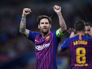 Leo Messi celebra un gol en Wembley