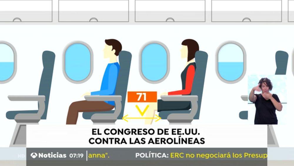 El Congreso de Estados Unidos aprueba una norma que establece una distancia mínima en los asientos de avión